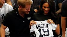 Meghan Markle breaks maternity leave to receive Red Sox and Yankees team shirts for Archie at baseball game with Prince Harry