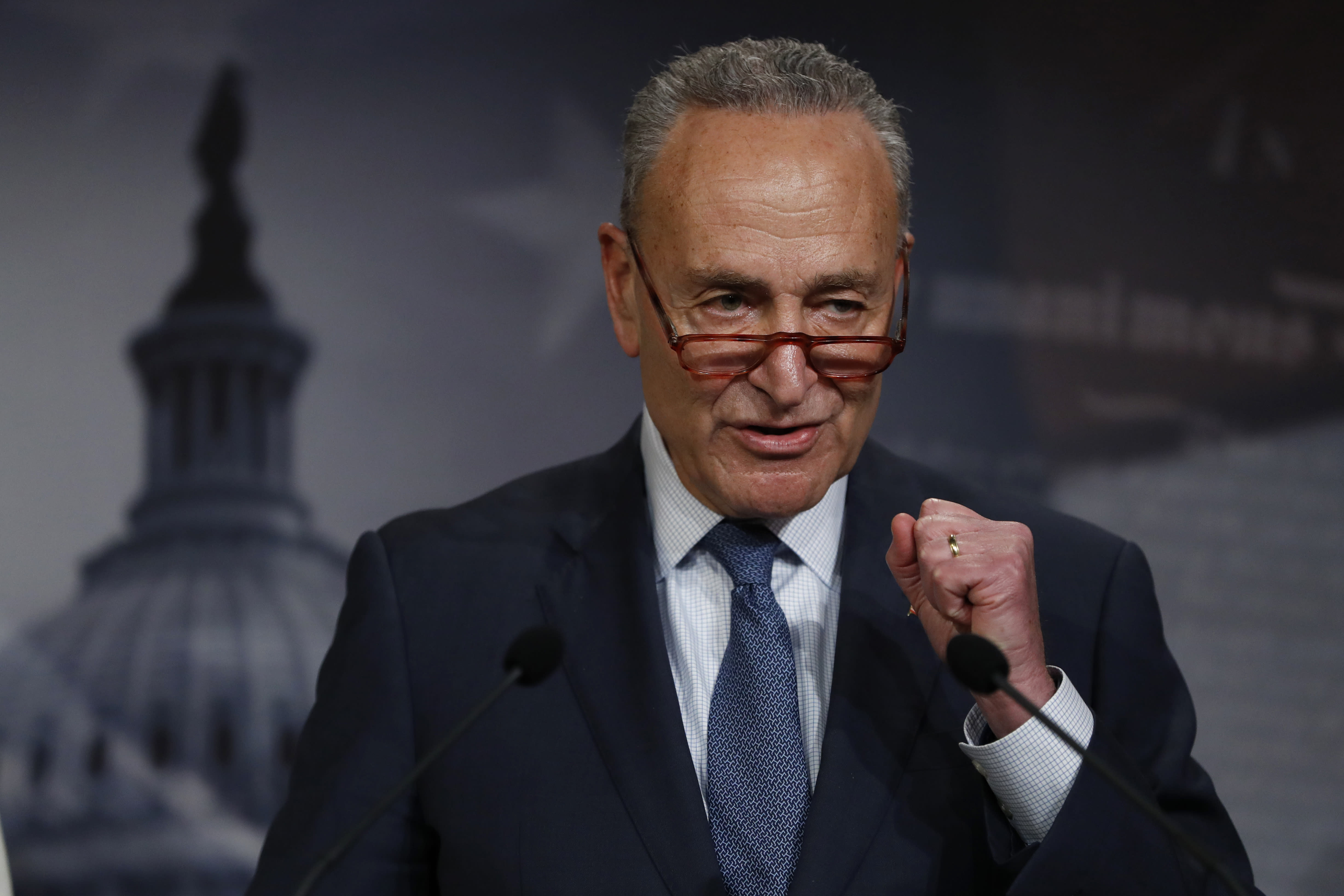 Senate Minority Leader Chuck Schumer, D-N.Y., talks to reporters about the impeachment trial of President Donald Trump on charges of abuse of power and obstruction of Congress, at the Capitol in Washington, Thursday, Jan. 16, 2020. (AP Photo/Julio Cortez)
