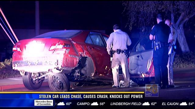 Stolen car leads chase, causes crash, knocks out power