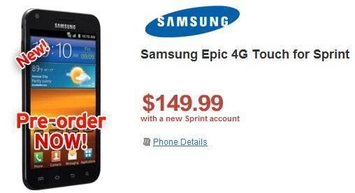 Samsung Epic 4G Touch available for pre-order on Wirefly, early adopters get a $50 price break