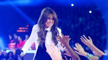Paula Abdul falls off stage midway through performance, but continues to sing