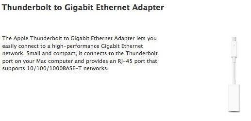 Apple rolls out Thunderbolt to Ethernet adapter for $29