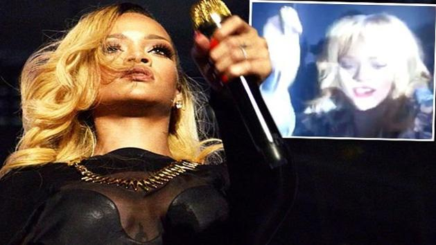 Shocking Moment Rihanna 'hits fan in the face with her microphone'
