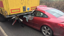 This car's driver had a lucky escape - walking away with cuts to his head