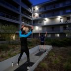 Beating lockdown inertia: French city-dwellers keep fit on balconies