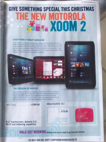 Motorola Xoom 2 officially priced at 400 Euros, coming this Christmas to Carphone Warehouse