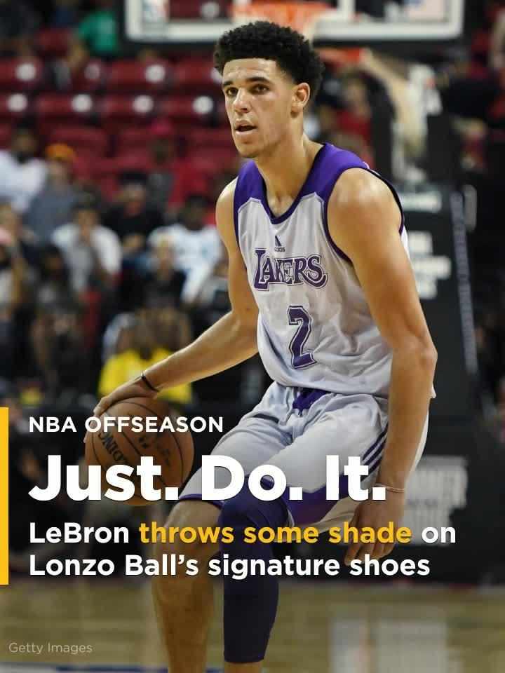 95af6634f34a3 LeBron James throws some shade on Lonzo Ball s signature shoes  Video
