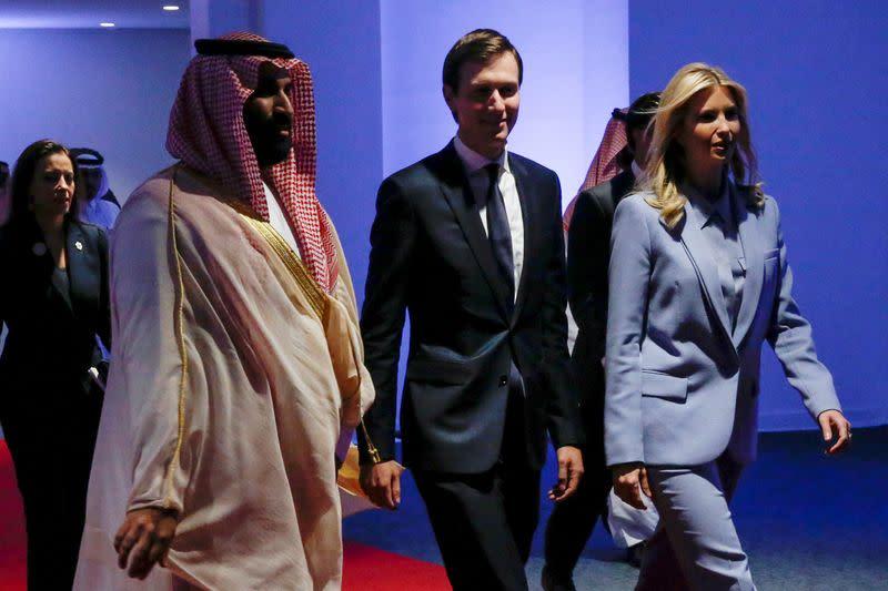 FILE PHOTO: Saudi Arabia's Deputy Crown Prince Mohammed bin Salman escorts White House senior advisors Jared Kushner and Ivanka Trump at the Global Center for Combatting Extremist Ideology in Riyadh, Saudi Arabia