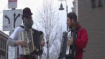 Noon: Dyngus Day celebration under way