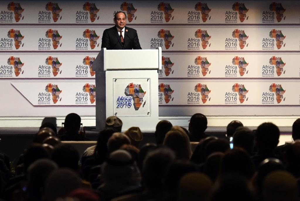 Egypt's President Abdel Fattah al-Sisi delivers a speech during the Africa 2016 forum on February 20, 2016, in the Red Sea resort of Sharm el-Sheikh (AFP Photo/Mohamed el-Shahed)