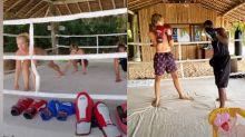 """Angélica pratica muay thai com Joaquim na Tailândia: """"Meu parceiro"""""""