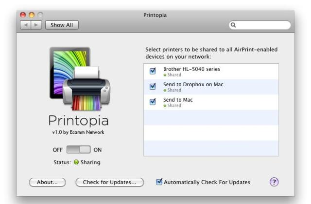 AirPrint on steroids: first look at Printopia, bringing shared printer support for iPad