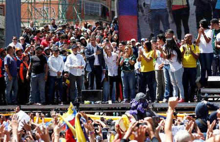 Venezuelan opposition leader Juan Guaido, who many nations have recognized as the country's rightful interim ruler, attends a rally to commemorate the Day of the Youth and to protest against Venezuelan President Nicolas Maduro's government in Caracas, Venezuela February 12, 2019. REUTERS/Carlos Garcia Rawlins