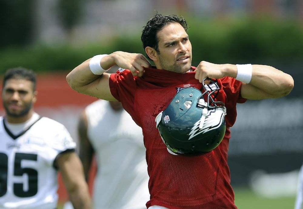 Philadelphia Eagles' Mark Sanchez leaves the field at the end of NFL football training camp on Sunday, July 27, 2014, in Philadelphia