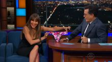 Sofia Vergara gives a shocked Stephen Colbert her panties on-air