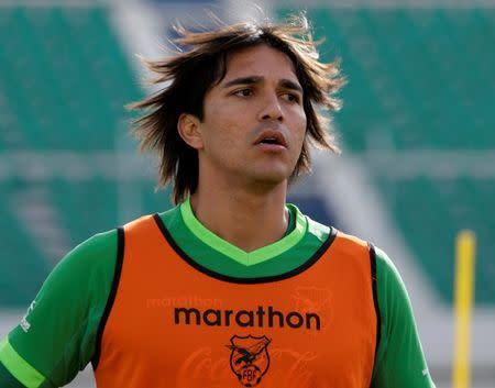 Foto de archivo del delantero de Bolivia Marcelo Martins en un entrenamiento de la selección en La Paz