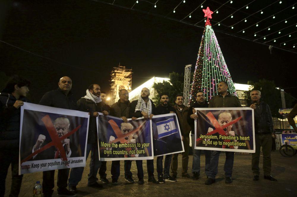 Palestinians protest President Trump