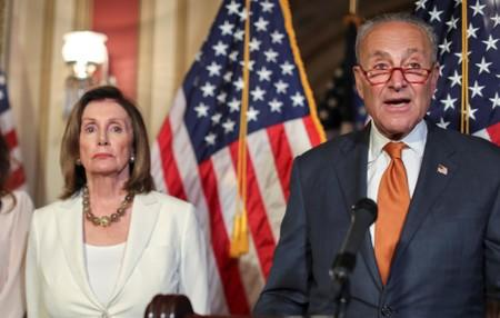 U.S. House Speaker Pelosi and Senate Minority Leader Schumer hold news conference to demand that U.S. Senate vote on gun control in Washington