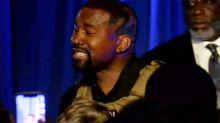 Kanye West breaks down during presidential rally