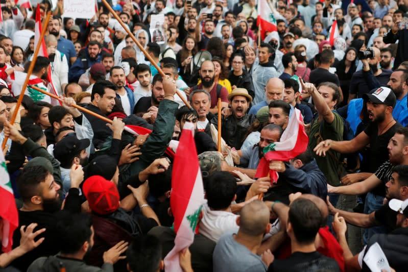 Hezbollah leader warns of civil war after weeks of Lebanon protests