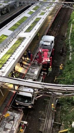 Structural damage is seen at Yotsuya Station in Shinjuku, Tokyo, Japan October 1, 2018 in this still image from video from social media. TWITTER @JMARU3/via REUTERS