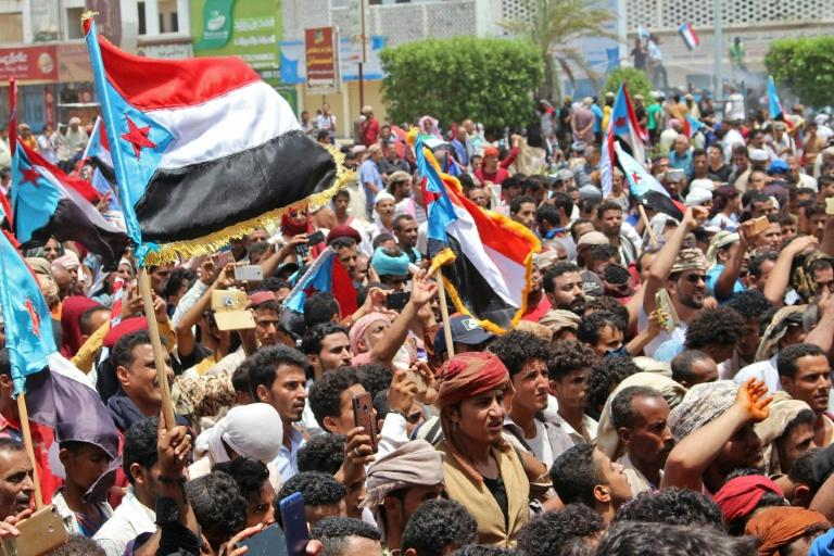 The flag of the former independent state of South Yemen has been flown in demonstrations by separatist supporters (AFP Photo/Murad SAID)