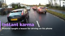 Instant karma for defiant mobile phone driver