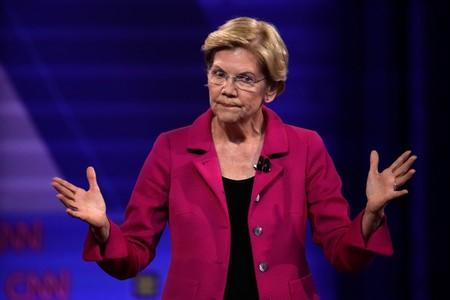 FILE PHOTO: Democratic 2020 U.S. presidential candidate Senator Elizabeth Warren (D-MA) gestures in a televised townhall on CNN dedicated to LGBTQ issues in Los Angeles, California