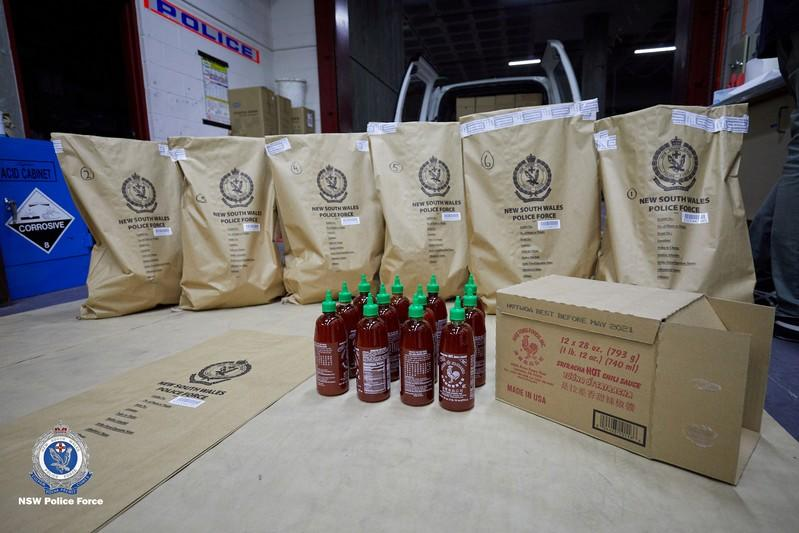 $300m of meth found hidden in hot sauce bottles by police
