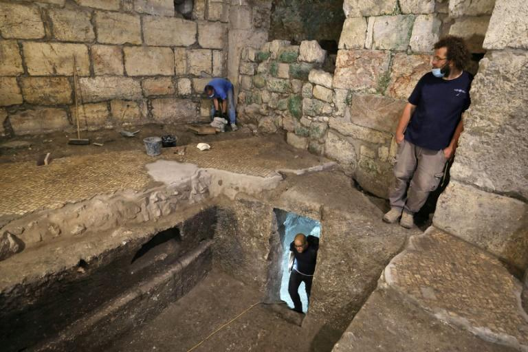 Israelis archaeologists t an excavation in the bedrock beneath a 1,400-year-old building near the Western Wall in Jerusalem