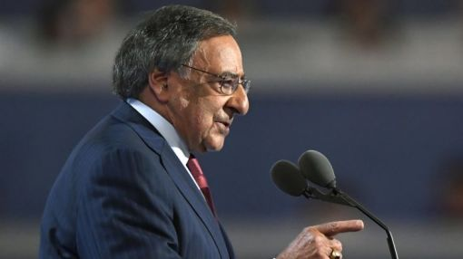 Leon Panetta scorches Trump at DNC, as crowd boos and chants, 'No more war!'