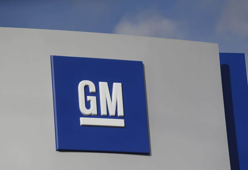 FILE PHOTO: The GM logo is seen at the General Motors Warren Transmission Operations Plant in Warren, Michigan