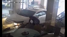 Nervous newbie driver smashes into restaurant in China after mistakenly accelerating