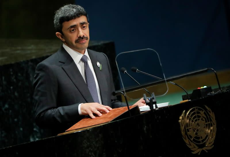 United Arab Emirates Foreign Minister Sheikh Abdullah bin Zayed Al Nahyan addresses the 74th session of the United Nations General Assembly at U.N. headquarters in New York City, New York