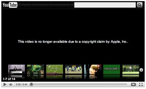 Tweaked iPhone 4 parts video pulled from YouTube 'due to a copyright claim from Apple, Inc.'