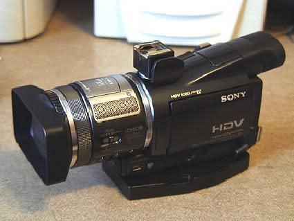 Homemade Sony HC1 shoe adaptor