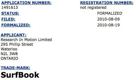 RIM files 'SurfBook' trademark in Canada, cyberspace awaits