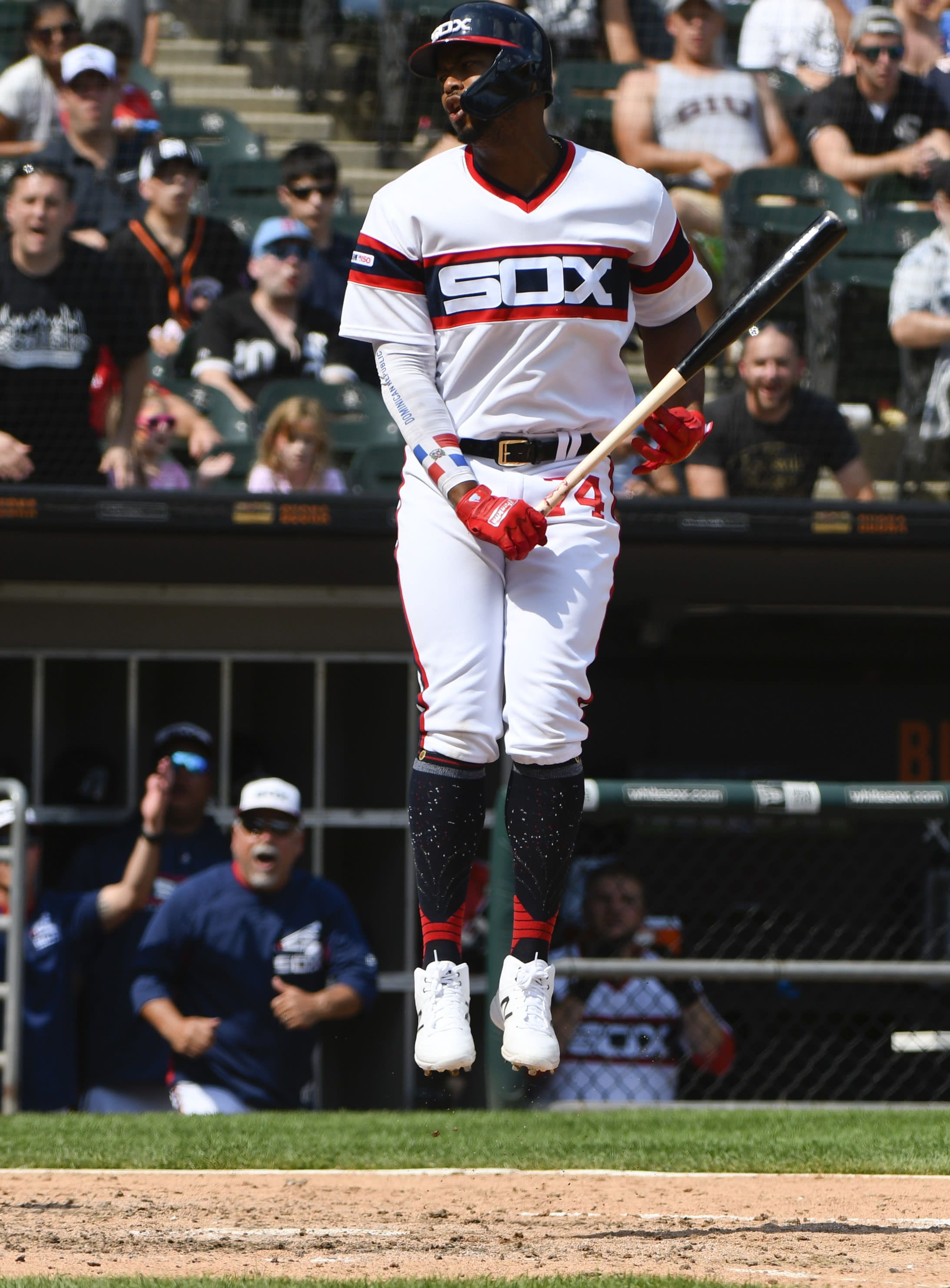 Chicago White Sox's Eloy Jimenez reacts after being called out on strikes during the sixth inning of a baseball game against the Minnesota Twins, Sunday, July 28, 2019, in Chicago. (AP Photo/Matt Marton)
