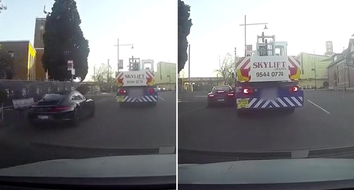 Dashcam owner celebrates 'instant karma' crash after being cut off by Porsche