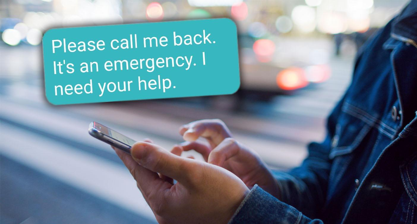 Warning about distressing 'emergency' text message scam