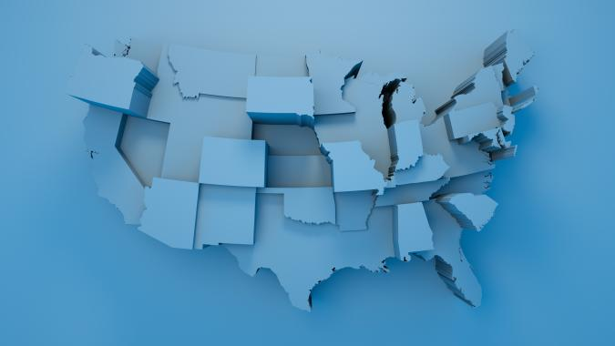 Map, USA, Blue, Geographical Locations, Loopable Elements