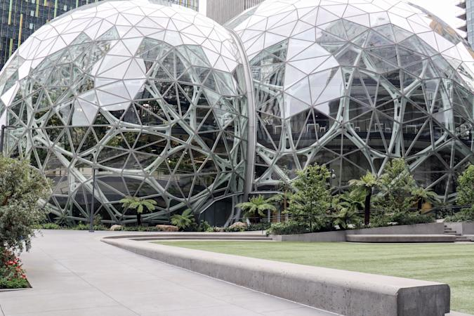 SEATTLE, UNITED STATES - APRIL 30, 2020: Amazon headquarters in Seattle. The ecommerce retailer announced its Q1 2020 financials. The company reported earnings of $5.01 per share, below analyst expectations.- PHOTOGRAPH BY Toby Scott / Echoes Wire/ Barcroft Studios / Future Publishing (Photo credit should read Toby Scott / Echoes Wire/Barcroft Media via Getty Images)
