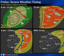 Storms expected to arrive in DFW Friday afternoon; large hail, tornadoes possible
