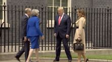 Theresa May And Donald Trump Didn't Shake Hands Outside Downing Street