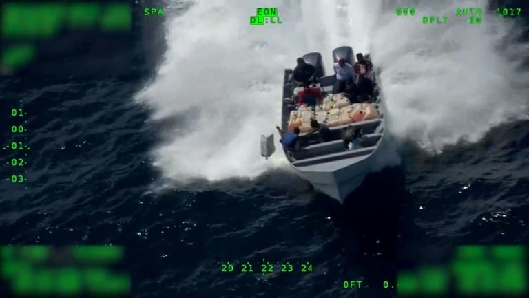 A still image from a US Customs and Border Protection video, showing suspected drug smugglers tossing their cargo into the Pacific Ocean on July, 18, 2019