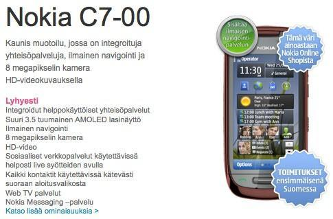 Nokia C7 pre-orders go live in some markets