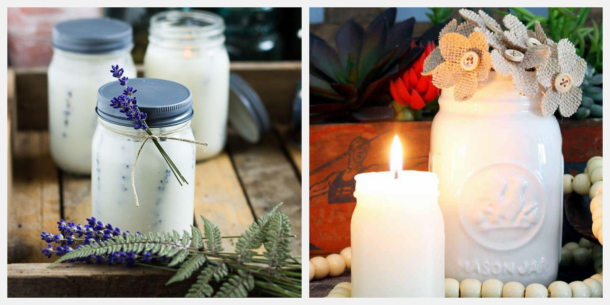 """<p>Originating as a container for canning and preserving foods, the Mason Jar has had many stylish evolutions. From Mason Jar sconces to Mason Jar iced coffee cups, there's no shortage of great inspo in the DIY world and beyond.</p><p>Whether you're looking to get crafty—or simply inspired—these Mason Jar <a href=""""https://www.elledecor.com/shopping/g2562/the-15-best-candles-to-burn-in-your-home-this-summer/"""" rel=""""nofollow noopener"""" target=""""_blank"""" data-ylk=""""slk:candles"""" class=""""link rapid-noclick-resp"""">candles</a> are a great place to start. From botanical-infused to gingerbread soy, get creative and cozy with some attractive aromas. </p><p>Read on for 10 Mason Jar candles to make (or buy) right now. </p>"""