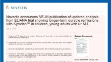 Novartis announces NEJM publication of updated analysis from ELIANA trial showing longer-term durable remissions with Kymriah(TM) in children, young adults with r/r ALL