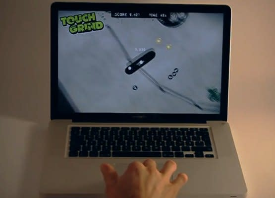 Illusion Labs shows off multitouch 'Touchgrind' gaming demo on a MacBook