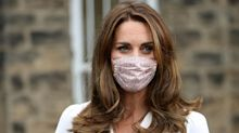 Kate Middleton wears £15 floral-print face mask to visit baby bank